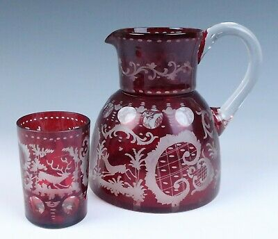 $39.99 • Buy Antique Ruby Stained Etched Pitcher & Glass Tumbler Egermann Bohemian Deer Cut