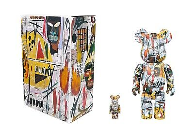 $850 • Buy Bearbrick Medicom 400% & 100% Jean Michael Basquiat Version 1 Rare be@rbrick