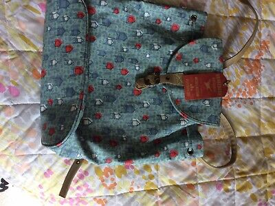 New Brakeburn Oilcloth Backpack With Canvas Lining - Beach Hut Pattern • 5£