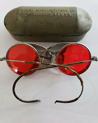 $200 • Buy Goggles WW2 Welsh Matsuda Red, Vintage 1930's, Steam Punk, With Case