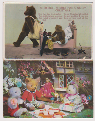 £3 • Buy Two Teddy Bear Postcards - One Christmas Card - One Having A Picnic - Waf