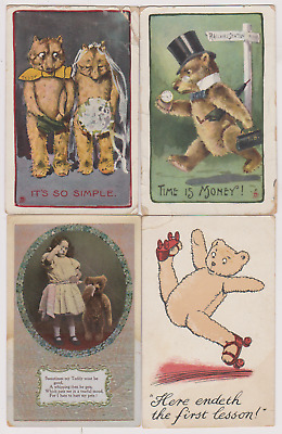 £4.99 • Buy 4 Teddy Bear Postcards - One With Roller Skates - One Crying - All With Faults