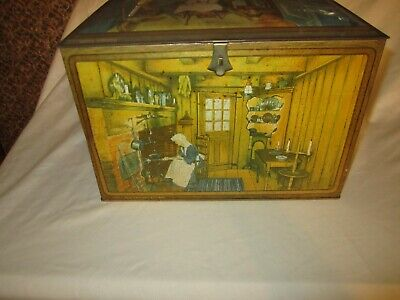 $44.99 • Buy Vintage Canco Litho Kitchen Scenes Biscuit Tin Bread Box Nice!!!