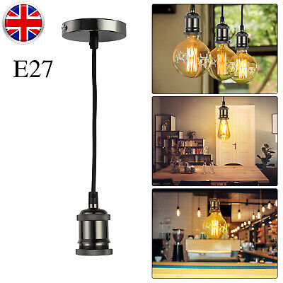 E27 Ceiling Hanging Chandelier Retro Style Light Lamp Holder Fitting +1.2m Cable • 7.99£