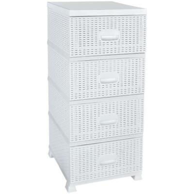 ORION Rattan CHEST OF DRAWERS / 4 Drawers WHITE • 46.99£
