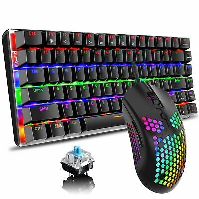 AU105.89 • Buy AU Mechanical Gaming Keyboard Rainbow LED Backlit + Lightweight Mouse For Gamer