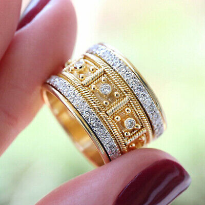 £1.67 • Buy Gorgeous 18k Yellow Gold Plated Rings Women Cubic Zirconia Jewelry Size 5-10