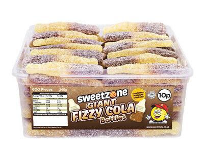 Sweetzone Giant Fizzy Cola Bottles 60 Pieces Halal HMC Sweets Tubs • 6.99£