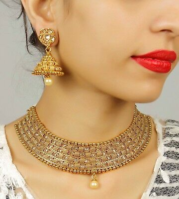 $64 • Buy Indian Necklace Gold Plated Jewelry Fashion Wedding Bridal Bollywood Women Set