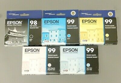 $54.99 • Buy Epson 98 BK 99 C Y LC LM Ink Cartridge Genuine T098 T099 New Seal Box Lot Of 5