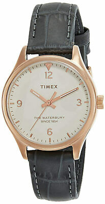 $49.90 • Buy Timex TW2R69600 Waterbury Women's Rose Gold-Tone Analog Watch Grey Leather Strap