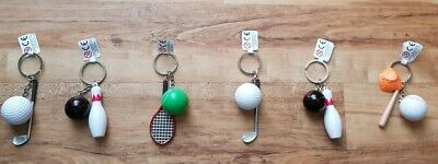 6pcs Ten Pin Bowling/Golf/Tennis Keyrings Party Bag Christmas Cracker Fillers • 8£