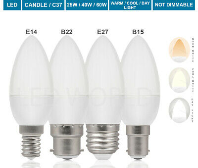 E14 B22 E27 25W 40W 60W LED Candle Bulbs Light Lamp SES BC ES Low Energy Saving • 6.99£