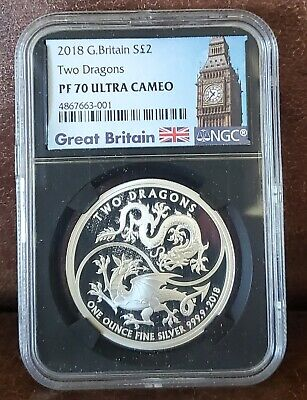 $140 • Buy 2018 NGC PF 70 Ultra Cameo G. BRITAIN 1oz Silver $2  TWO DRAGONS  BLK CORE