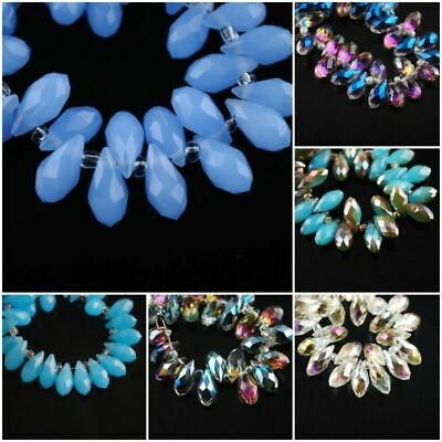 £2.05 • Buy 20Pcs Faceted Glass Teardrop Pendant Finding Jewelry Making Loose Beads 6x12mm