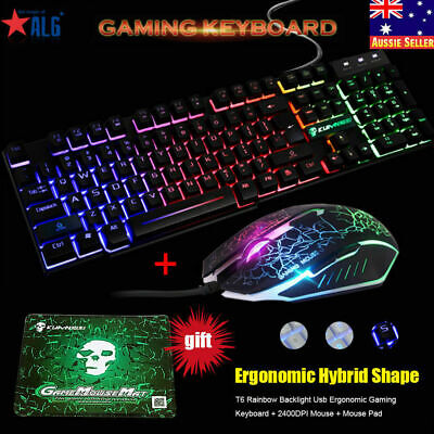 AU42.99 • Buy Rainbow Backlit Keyboard And Mouse Sets For PS4 PS3 Xbox One PC T6 Gaming Office