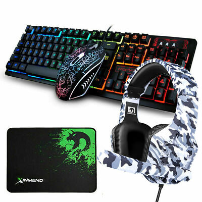 AU42.99 • Buy AU Gaming Conbo 4in1 For PS4 Gaming Keyboard And Mouse Headset Rainbow Backlit