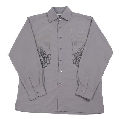 Vintage Chinese Dragon Graphic Shirt | Large | Button Retro Tiger 90s Y2k Party • 24.99£