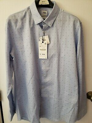 $25 • Buy NWT Zara Man Dress Shirt Blue W/ Dots Size 46 2XL Slim Fit