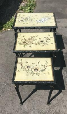 A Retro Vintage / Antique Oriental Chinese Floral Nest Of Tables With Glass Tops • 95£