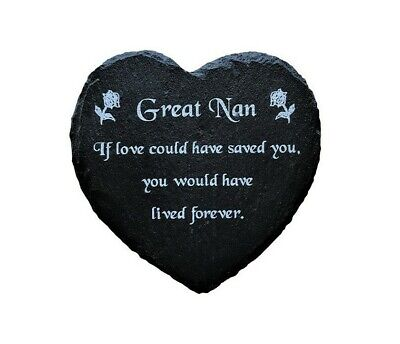 Engraved Slate Heart Memorial Grave Marker Plaque In Remembrance Of Great Nan • 9.99£