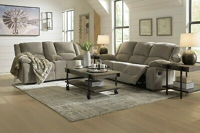 $1295 • Buy Ashley Furniture Draycoll Pewter Reclining Sofa And Loveseat Living Room