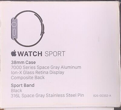 $ CDN187.35 • Buy Apple Watch Series 1 38mm Space Gray Aluminum Case Black Sport Band (MP022LL/A)