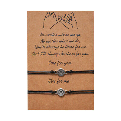 Compass Travel Friend Lover Couple Charm Card Wish You Me Promise Bracelet Gift • 3.79£