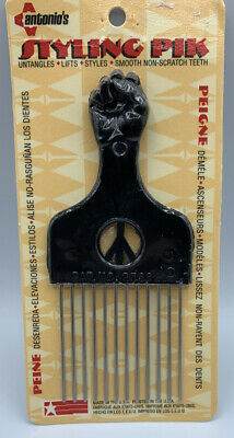 $22.99 • Buy Antonios Styling Pik No. 532 Afro Metal Pick NIB Raised Fist Peace Sign