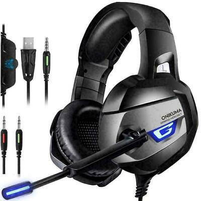 AU38.99 • Buy K5 Gaming Headset For PS4 Xbox One PC Laptop With Noise Cancelling Mic Black AU