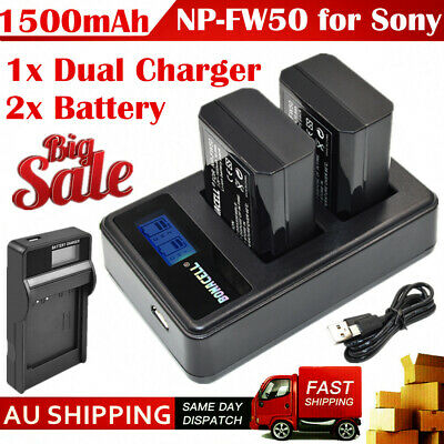 AU28.99 • Buy 2x 1500mAh NP-FW50 Battery + USB Charger For Sony A6000 A6300 A6500 A5000 A3000