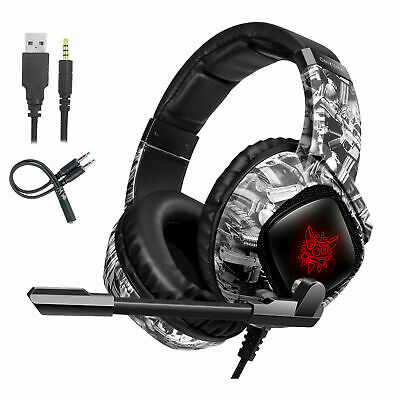 AU38.89 • Buy NEW 3.5mm Gaming Stereo Headset Surround Headphone Wired Mic For PS4 Xbox One W4