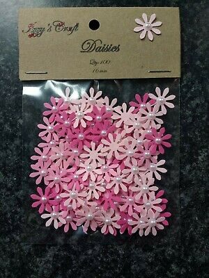 100 Pink DAISY FLOWER CARD MAKING, #107 Baby Shower Birthday Decorations, Party • 1.89£