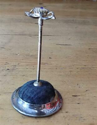 Attractive Silver Plated Hat Pin Holder With Decorative Cream And Blue Stone Top • 8.02£