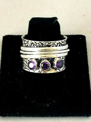$22.95 • Buy .925 Sterling Silver Plated Amethyst Wide Band Spinner Ring Ms1385 Size 9
