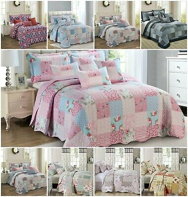 £32.96 • Buy 3 Piece Quilted Patchwork Bedspread Throw Single Double King & Super King Size