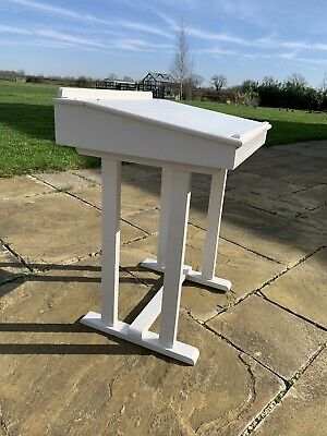 Vintage Wooden School Desk Painted White • 35£