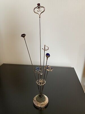 Vintage Silver Hat Pin Stand And Hatpins Some With Amethyst • 8.68£