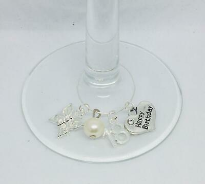 18th 21st 30th 40th 50th 60th 65th 70th 80th Birthday Butterfly Wine Glass Charm • 2.50£