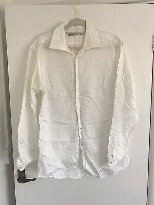 French Connection Plain White Double Cuff Shirt • 2.80£