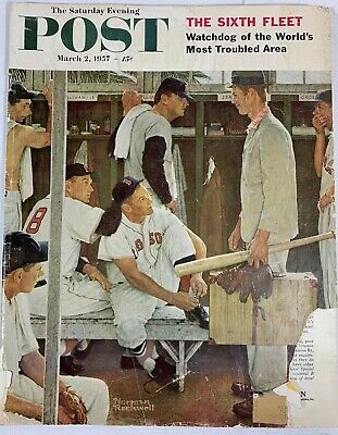 $ CDN16.23 • Buy The Saturday Evening Post. March 2, 1957. Norman Rockwell. Redsox Cover