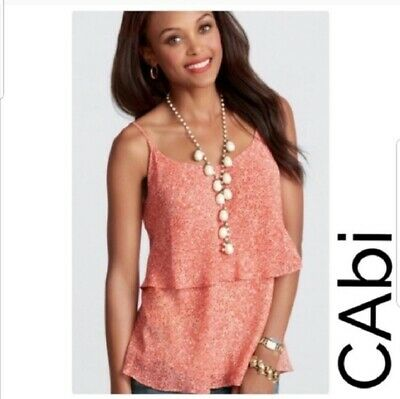 $16.99 • Buy CAbi #339 Womens Paprika Ruffle Abstract Floral Tiered Tank Top Size L