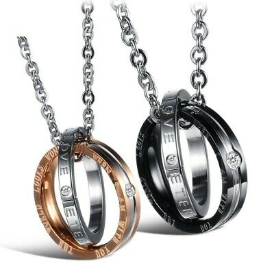 Stainless Steel Chain Ring Lover Couple Necklace Valentine Birthday Gift Present • 5.99£