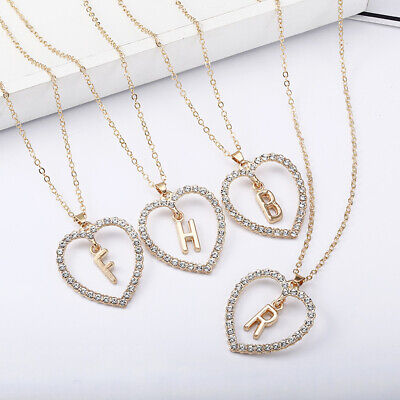 £3.99 • Buy Ladies Gold Love Heart Initial Alphabet Letter Cubic Zirconia Chain Necklace UK