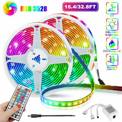 $10.98 • Buy 32FT Flexible Strip Light 3528 RGB LED SMD Remote Fairy Lights Room TV Party Bar