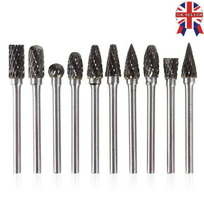 10pcs Tungsten Steel Solid Carbide Burrs For Dremel Rotary Tool Set Drill Bit • 7.58£
