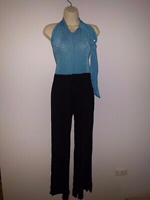 AU25 • Buy Women's Blue And Black Halterneck Jumpsuit With Matching Headband Size Small