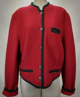 $34.03 • Buy Geiger Austria Womens Boiled Wool Cardigan Sweater Jacket Size 40 Red Button Up