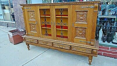 $389.99 • Buy Antique Wood Carved Panel Arts & Crafts Oak Bookcase 4 Door Cabinet
