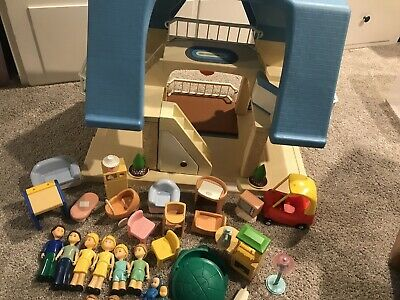 $99.99 • Buy LITTLE TIKES PALE BLUE ROOF DOLLHOUSE, FURNITURE, PEOPLE, FAMILY, Lot
